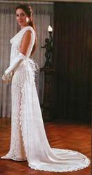 вязаное платье со шлейфом