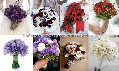 зимние свадебные букеты цвета