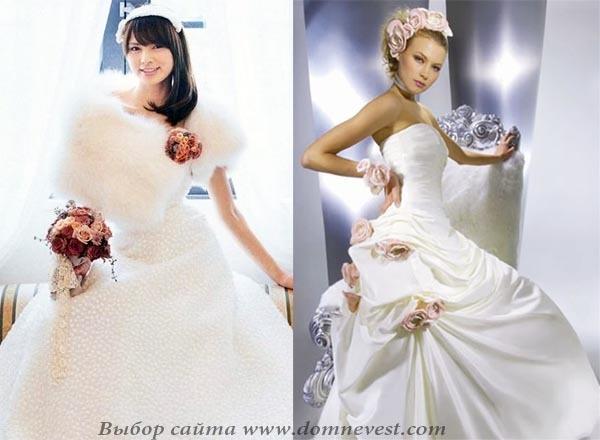Свадебное платье, украшенное цветами.