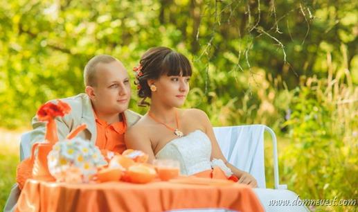 оранжево-ромашковая свадьба