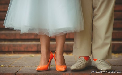 оранжевые свадебные туфли