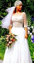 свадебное платье и шапочка