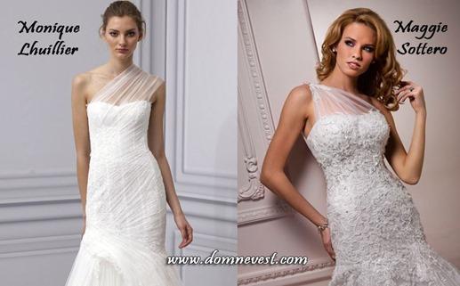 ассиметричные свадебные платья