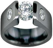 черное обручальное кольцо из титана
