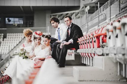 свадебная фотосессия на стадионе