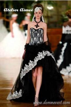 черно-белое свадебное платье 2013