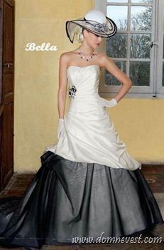 бело-черное свадебное платье и шляпка