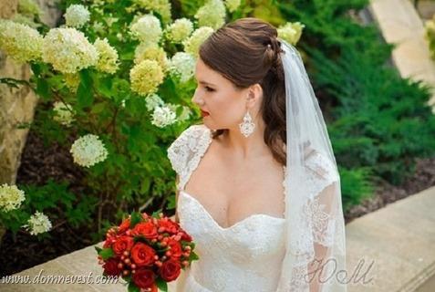 кружевные серьги в образе невесты
