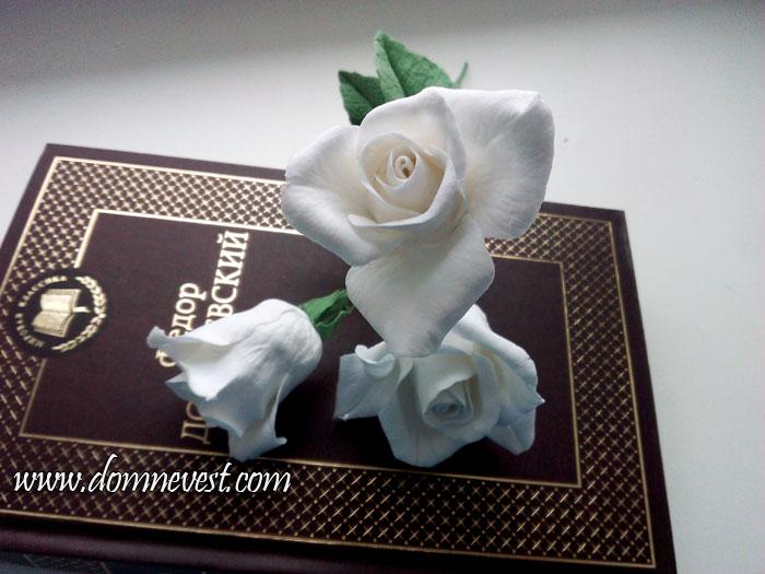 Розы из полимерной глины для свадебного букета своими руками