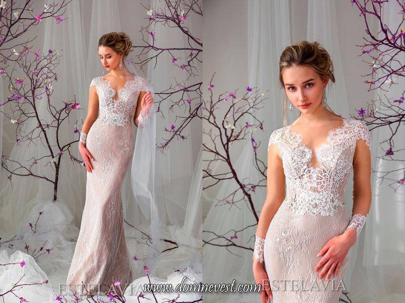 свадебные платья с иллюзией коротких рукавов