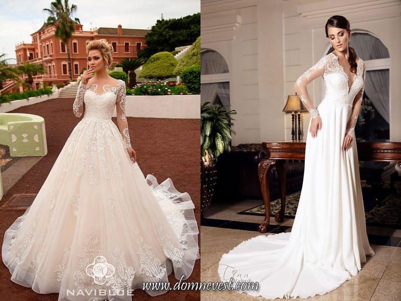 свадебные платья с кружевным рисунком на рукавах