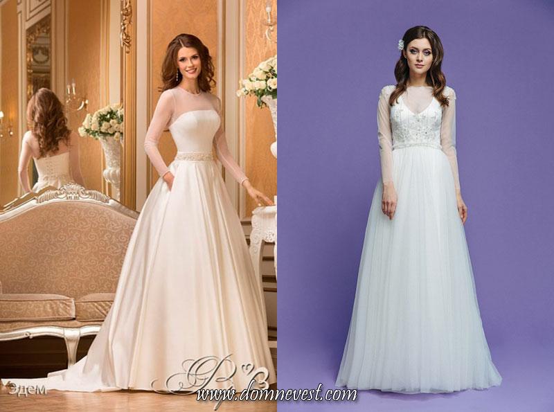 свадебные платья с прозрачными длинными рукавами
