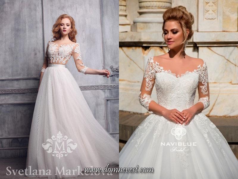свадебные платья с рукавами три четверти