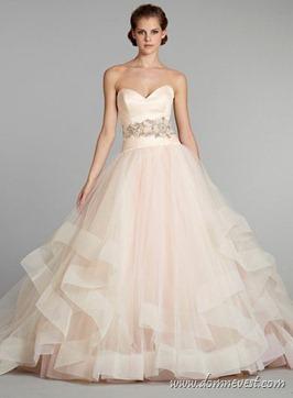 розовое свадебное платье Lazaro