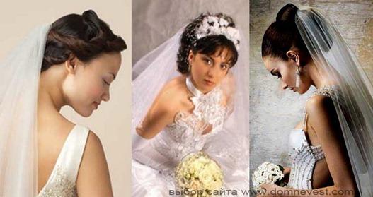 свадебные прически с фатой по середине прически