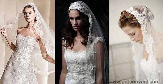 свадебные прически с фатой мантильей