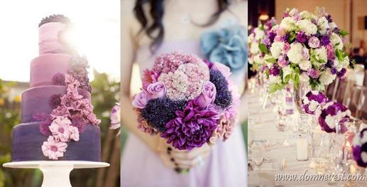 фиолетовые оттенки в оформлении свадьбы