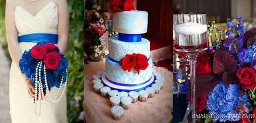синий и красный цвет на свадьбе