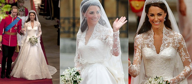 на наряд Грейс Келли благодаря кружевному верху, длинному шлейфу и фате, которая также отделана кружевом. Вместе с тем, шлейф платья гораздо длиннее