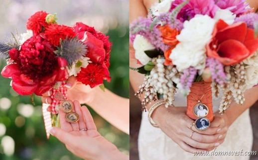 свадебные букеты с медальонами