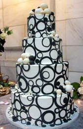черно-белый свадебный торт