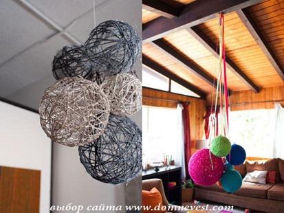 украшение шарами из ниток и пряжи