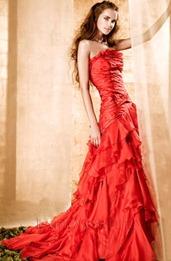 алое свадебное платье