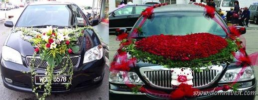 цветы на свадебной машине