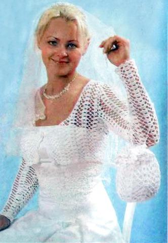 Если в день бракосочетания вы наденете вязаное свадебное платье, то отличным дополнением к вашему образу станет вязаная свадебная сумочка