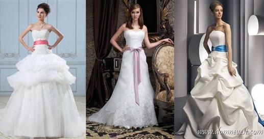 свадебные платья с цветными поясами