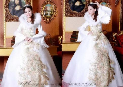 зимнее свадебное платье