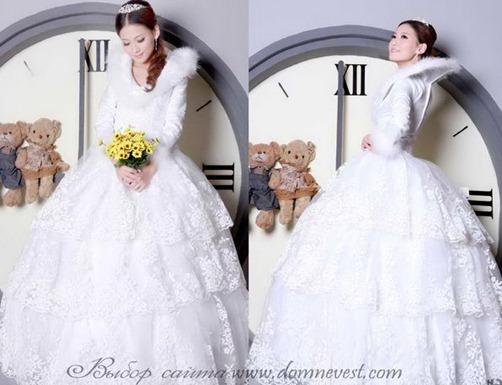 зимнее свадебное платье с мехом и кружевом