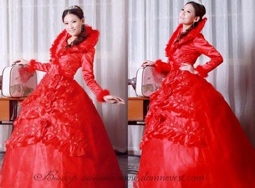 красное свадебное платье зимнее