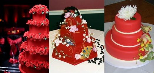 красные свадебные торты