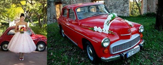 красный свадебный кортеж