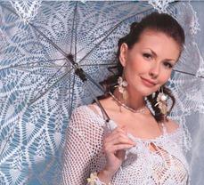 невеста под вязаным зонтиком