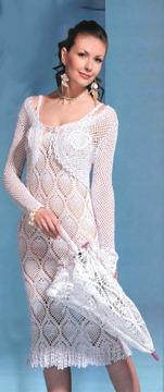 вязаное платье, болеро и зонт