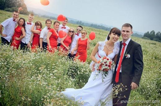 летняя свадьба в красном цвете