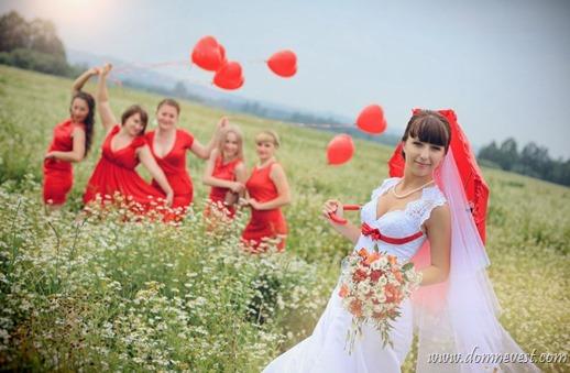 красные детали на свадьбе