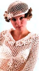 вязаная свадебная шапочка