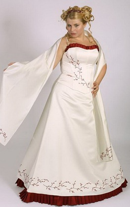свадебное платье с красными вставками для полных