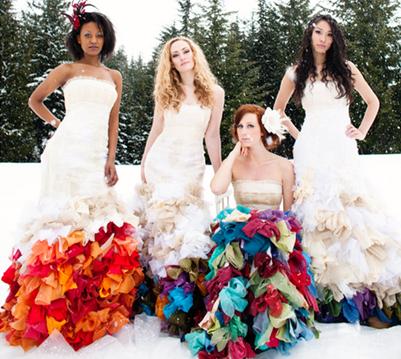 разноцветные свадебные платья