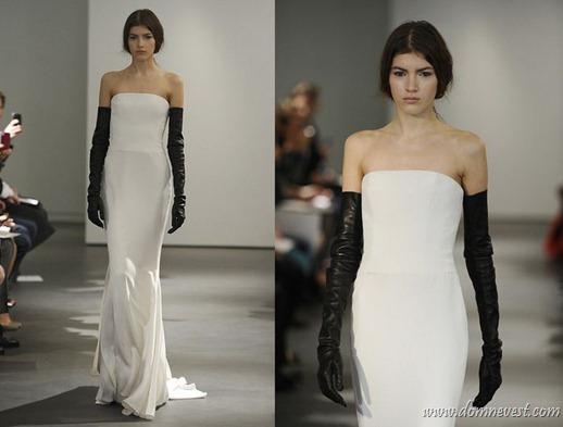 свадебное платье с черными перчатками