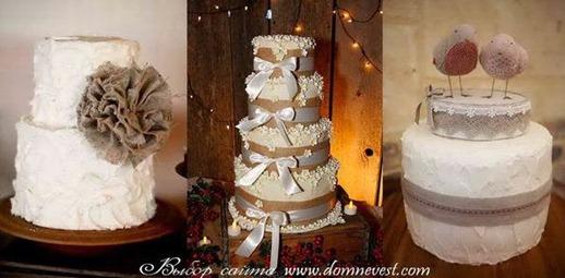 свадебные торты с мешковиной