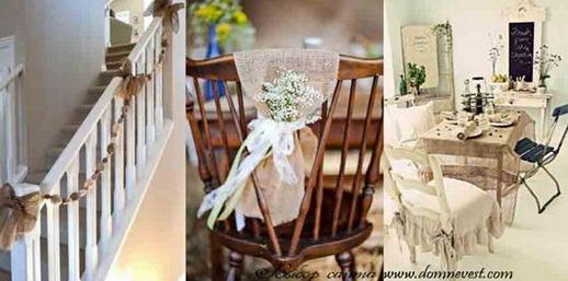украшение дома невесты мешковиной