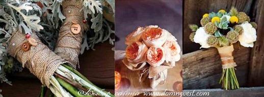 свадебные букеты с мешковиной