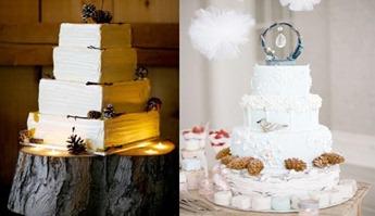 зимние свадебные торты с шишками