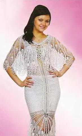 вязаное свадебное платье и