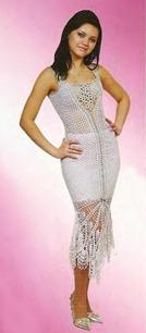 вязаное белое платье