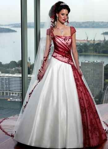 свадебные платья фото бело красные